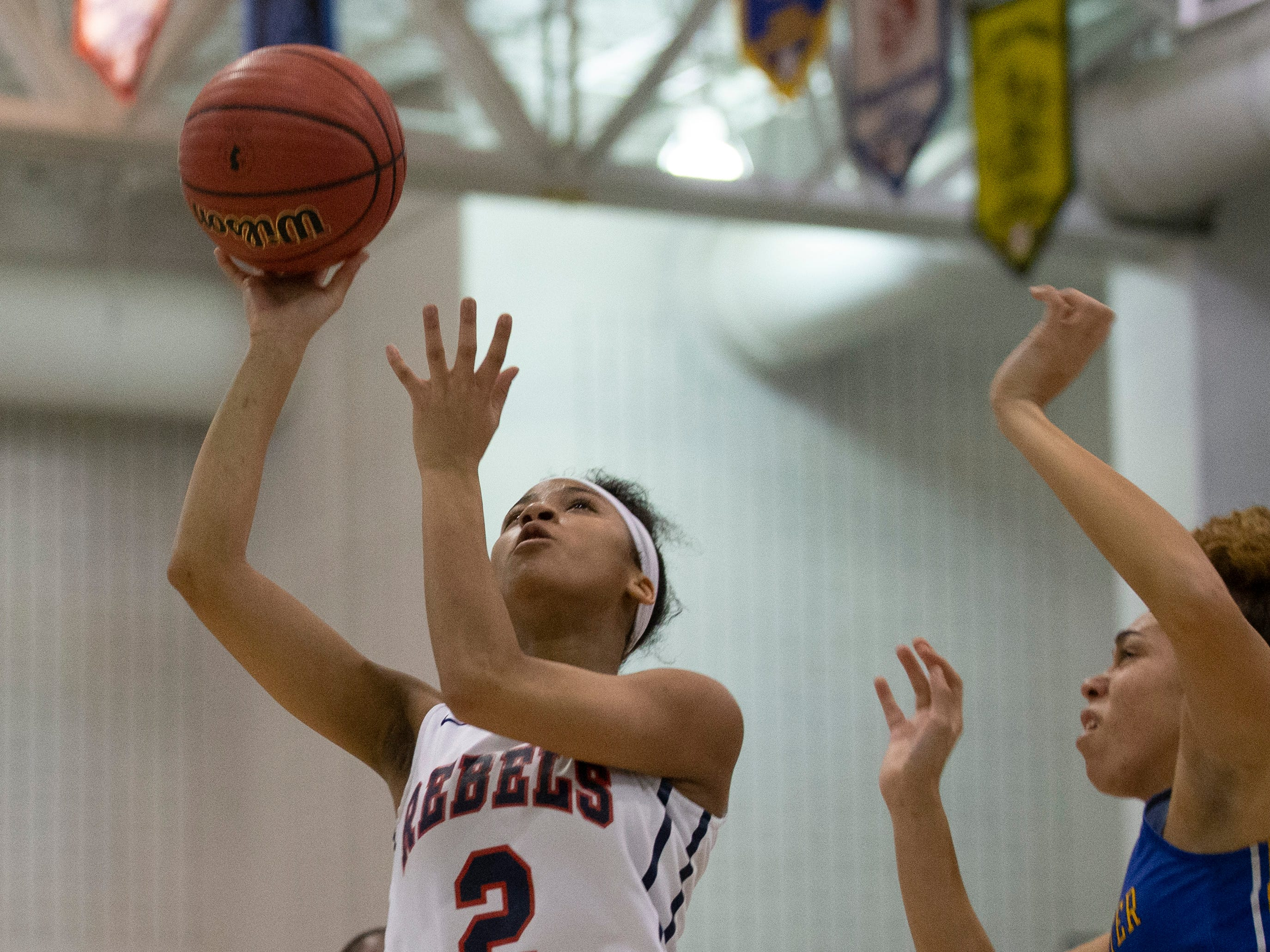 Saddle River Day's Saniah Caldwell shoots. Manchester Girls Basketball vs Saddle River Day in NJSIAA Tournament of Champions Semifinal in Toms River on March 14, 2019.