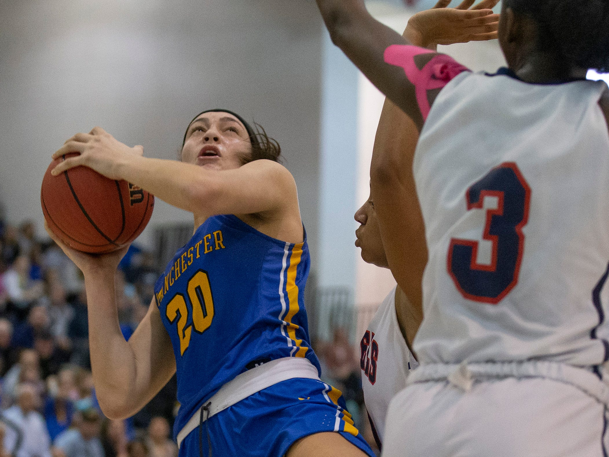 Manchester's Destiny Adams takes a fall away shot during first half action. Manchester Girls Basketball vs Saddle River Day in NJSIAA Tournament of Champions Semifinal in Toms River on March 14, 2019.