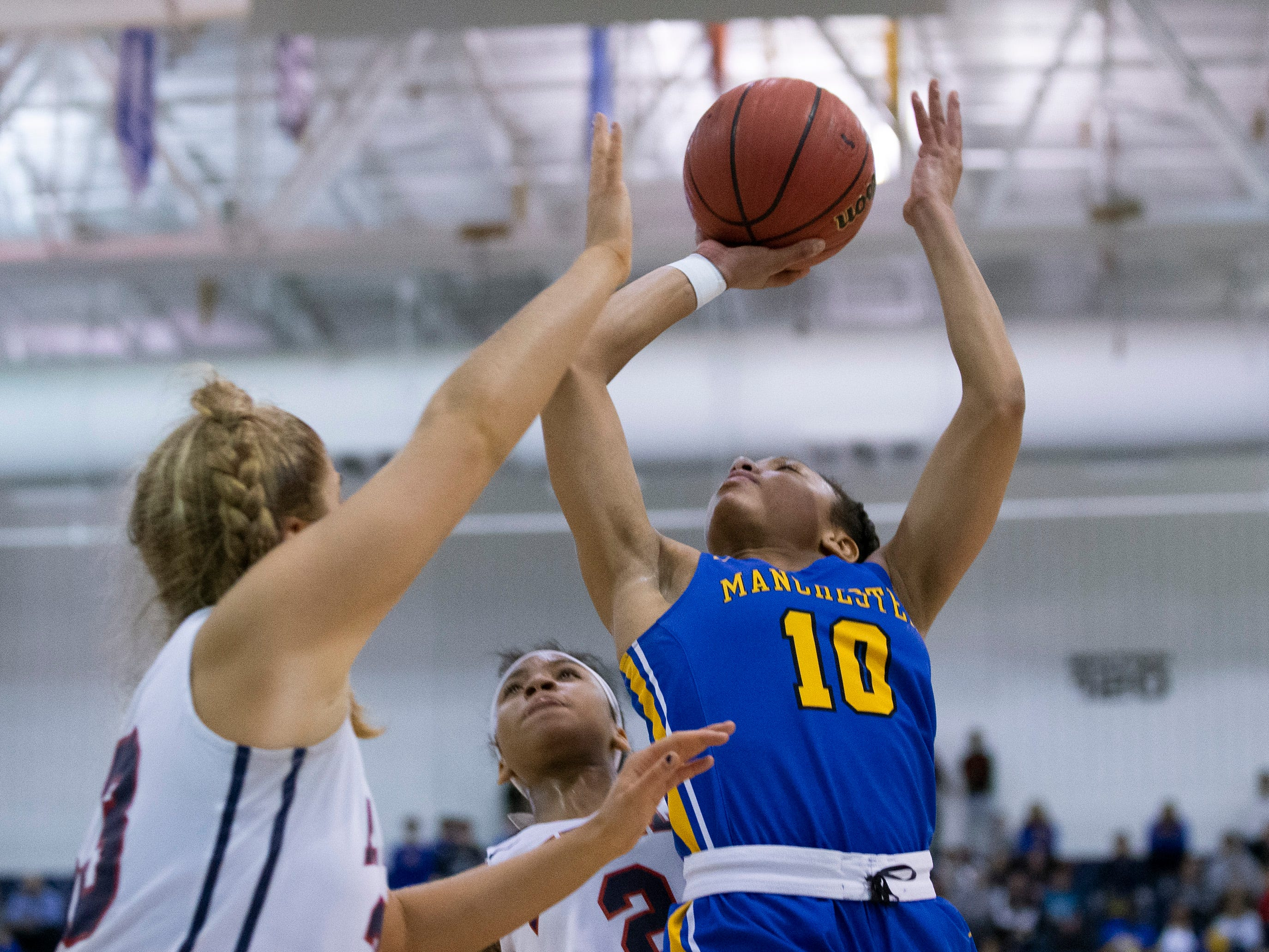 Manchester's Kemari Reynolds goes up with a shot. Manchester Girls Basketball vs Saddle River Day in NJSIAA Tournament of Champions Semifinal in Toms River on March 14, 2019.