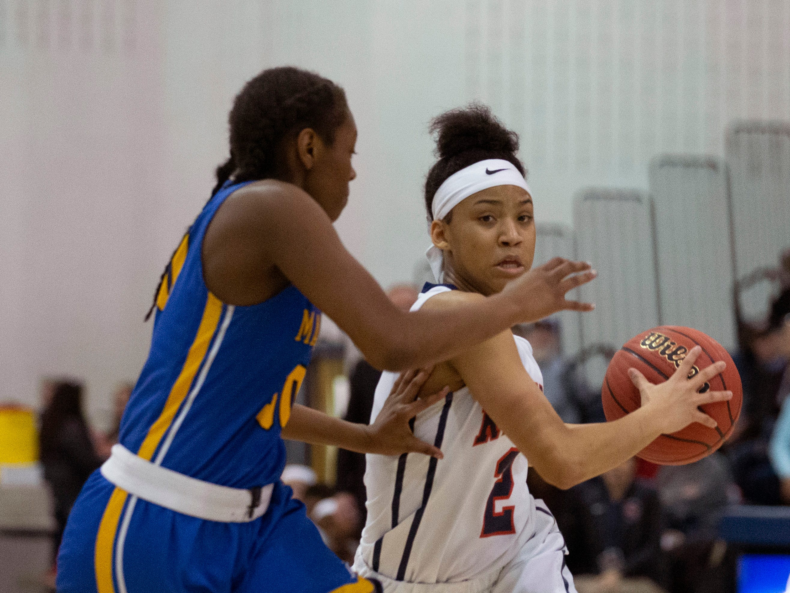 Saddle River Day's Saniah Caldwell works in under the basket. Manchester Girls Basketball vs Saddle River Day in NJSIAA Tournament of Champions Semifinal in Toms River on March 14, 2019.