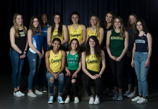 The 2019 All-Shore Girls Track- Seated in front are: Tess Darnell of Red Bank Catholic, Lilly Shapiro of Colts Neck, and Catherine Stolbof of Red Bank Catholic. Back row, left to right are: Riley Larsen of Point Boro, Emily Levonas of Holmdel, Sydney Goldson of Holmdel, Tara Zeni of Red Bank Catholic, Jessie Castellano of Red Bank Catholic, Anna Cleary of Red Bank Catholic, Bryanna Wilson of Howell, Noel Fullman of Brick Memorial, Izabel Fronc of Freehold Township, and Corina Vidal of Henry Hudson.Neptune, NJThursday, March 14, 2019