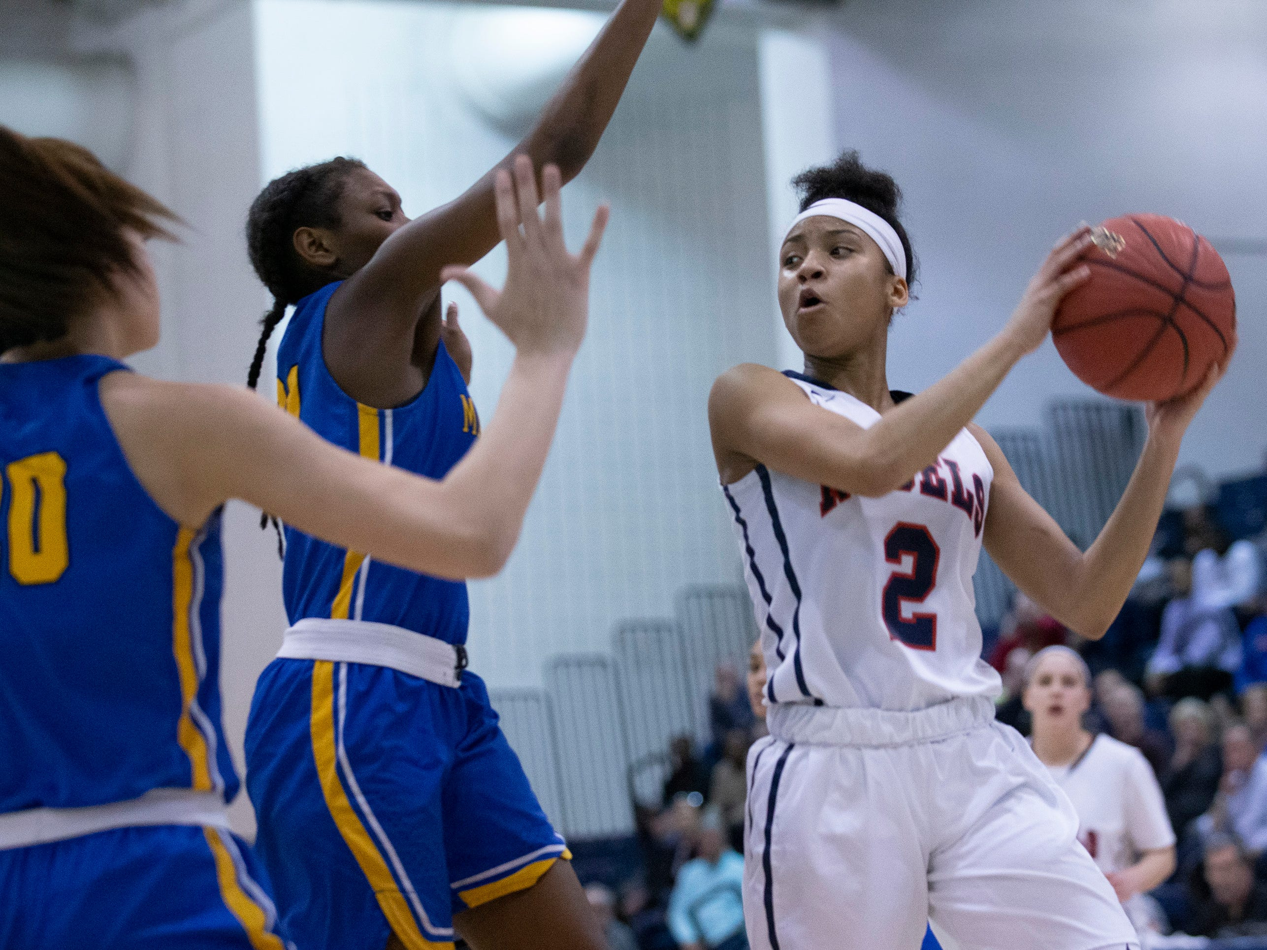 Saddle River's Saniah Caldwell looks for an opening. Manchester Girls Basketball vs Saddle River Day in NJSIAA Tournament of Champions Semifinal in Toms River on March 14, 2019.