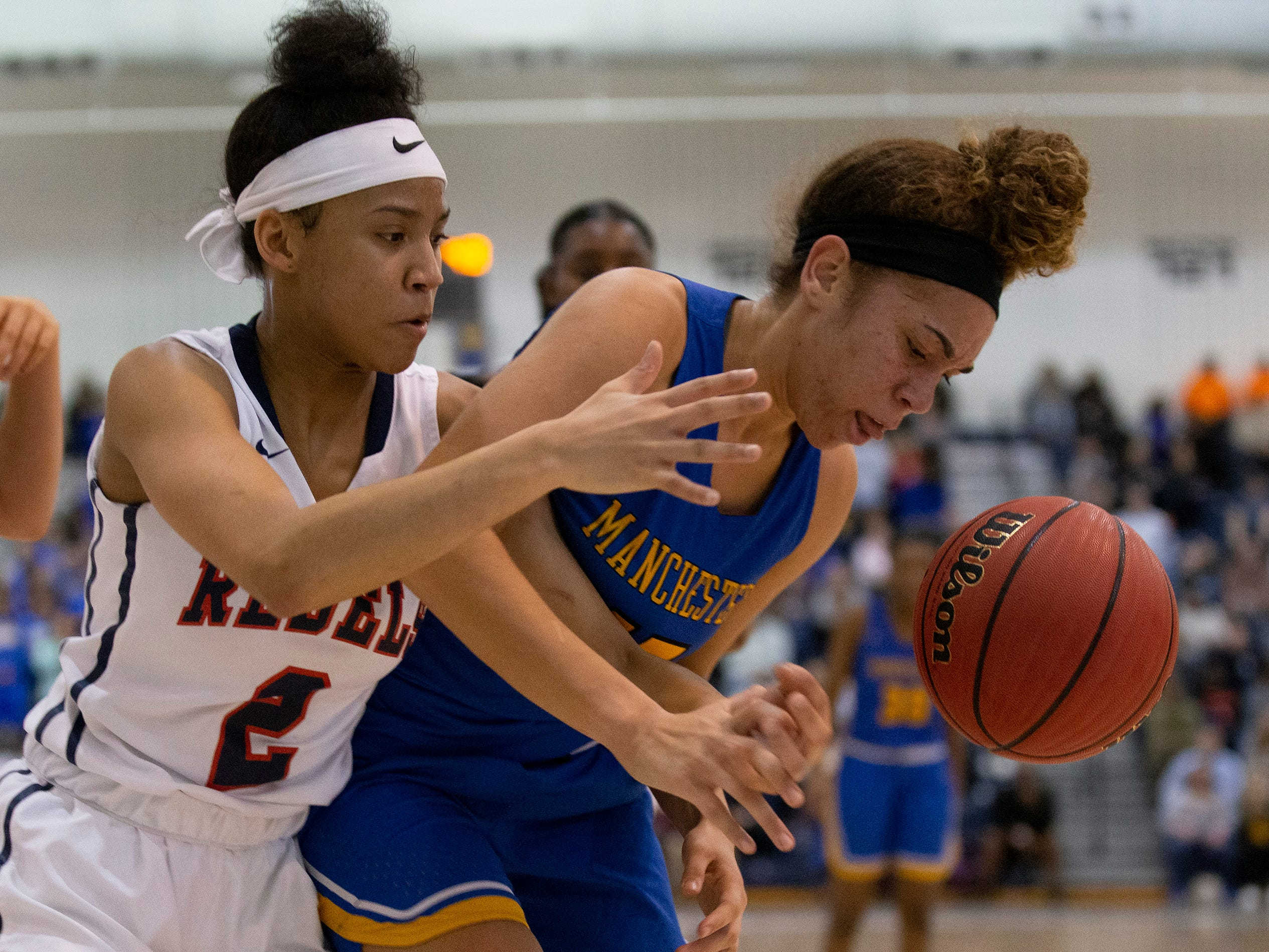 Manchester's Dakota Adams and Saddle River's Saniah Caldwell battle for loose ball. Manchester Girls Basketball vs Saddle River Day in NJSIAA Tournament of Champions Semifinal in Toms River on March 14, 2019.