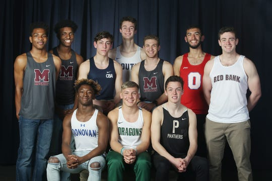 (top row) Justin Sumner of Matawan Regional High School, Zachery Hall of Matawan Regional High School, Liam O'Hara of CBA, Mark Anselmi of Middletown South, Dylan LoPresti of Matawan Regional High School, Najib Assadullah of Ocean Twp. High School, Brendan Loftus of Red Bank Regional, (bottom row) James Bivins of Donovan Catholic, Anton Svirskyi of Brick Twp. High School and Devin Hart of Point Pleasant Boro High School during the All-Shore boys track team photo shoot at the Asbury Park Press in Neptune, NJ Thursday, March 14, 2019.
