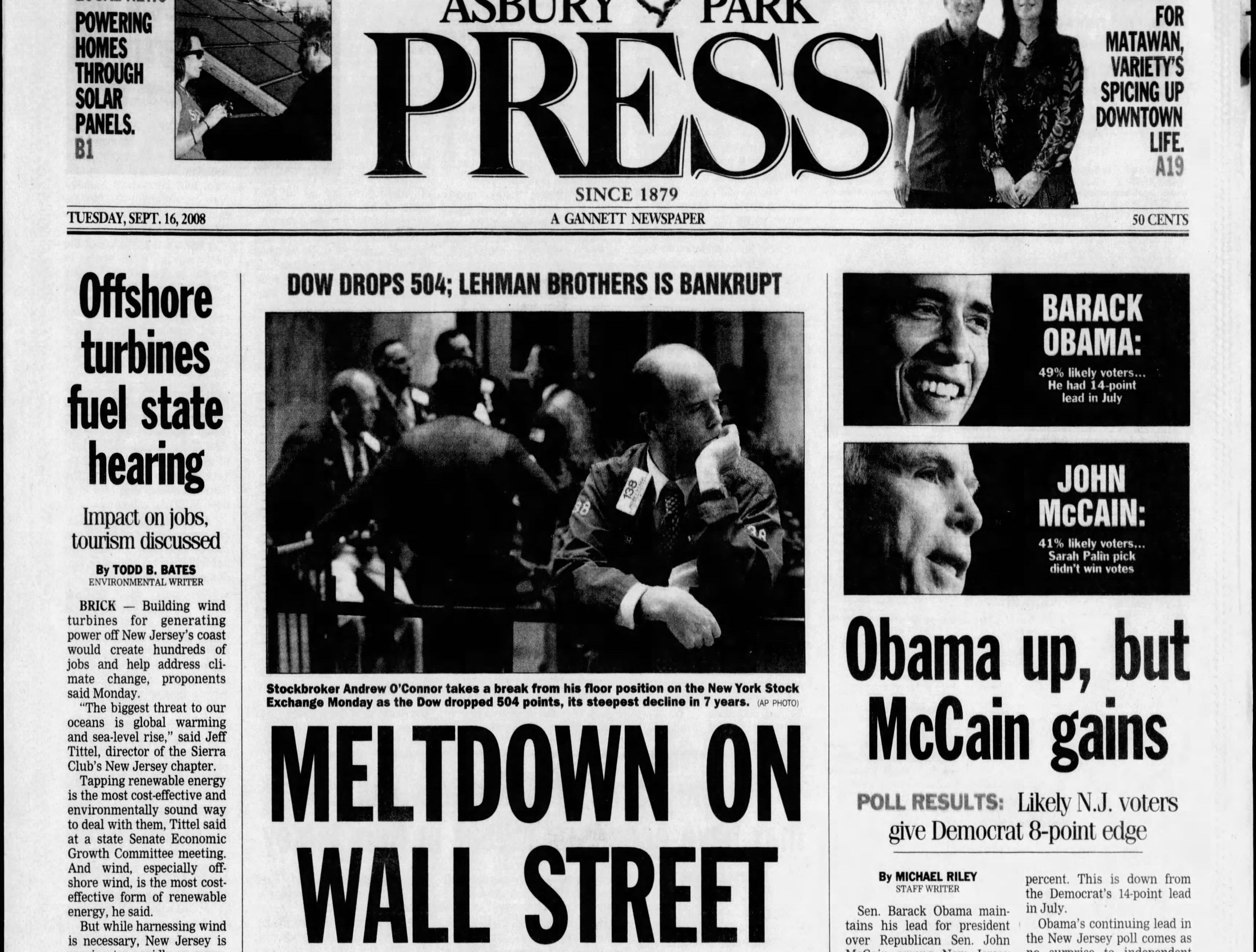 """""""Meltdown on Wall Street"""" as the markets go into a panic in the worst global financial crisis since the Great Depression after Lehman Brothers goes bankrupt, the Federal Reserve declines to guarantee its loans and the Dow Jones drops 504 points. This edition is from Tuesday, Sept. 16, 2008."""