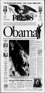 U.S. Sen. Barack Obama, D-Illinois, is elected the first black president of the United States in this edition from Wednesday, Nov. 5, 2008.