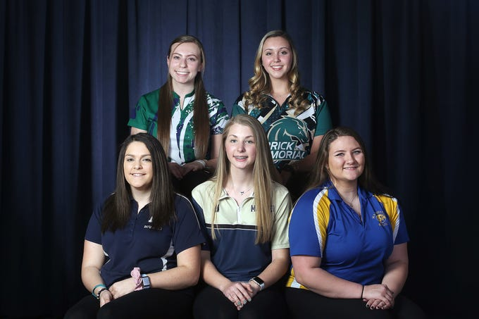 (top row) Morgan Gitlitz of Colts Neck High School, Amanda Shelters of Brick Memorial, (bottom row) Sarah Orensky of Freehold Twp. High School, Paige Peters of Toms River North and Theresa Bedaro of Manchester Twp. High School during the All-Shore girls bowling team photo shoot at the Asbury Park Press in Neptune, NJ Thursday, March 14, 2019.  (not pictured) Kamerin Peters of Toms River North