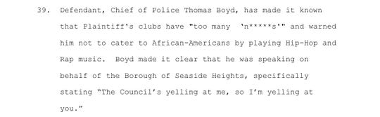 Saddy's lawsuit against Seaside Heights claims Police Chief Thomas Boyd used the 'N' word to refer to black patrons at Saddy's clubs.