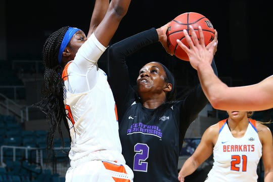 Central Arkansas senior guard Kamry Orr (2) goes up for a shot Thursday, March 14, 2019, against Sam Houston State at the Southland Conference tournament at the Merrell Center in Katy.