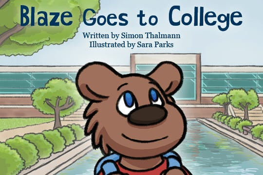 """""""Blaze Goes to College"""" is the first children's book published by Kellogg Community College."""