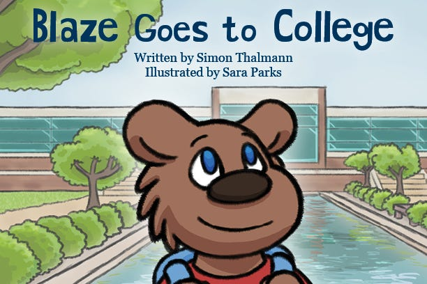 """Blaze Goes to College"" is the first children's book published by Kellogg Community College."