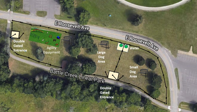 A rendering of the plans Friends of Calhoun County Dog Parks has for a dog park in Bailey Park