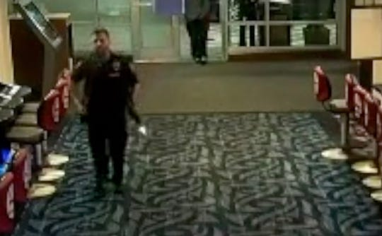 Security cameras capture the muzzle flash of Bainbridge Island Police Officer Joseph Fastaia's AR-15 discharging as he runs into the Suquamish Clearwater Casino on April 19, 2018.