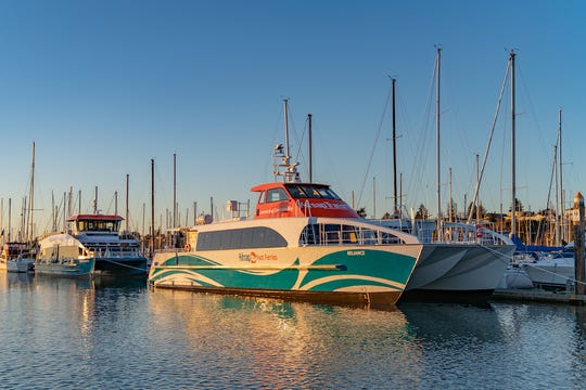 Kitsap Transit's two newest ferries, the Reliance (right) and the Waterman, at All-American Marine in Bellingham.