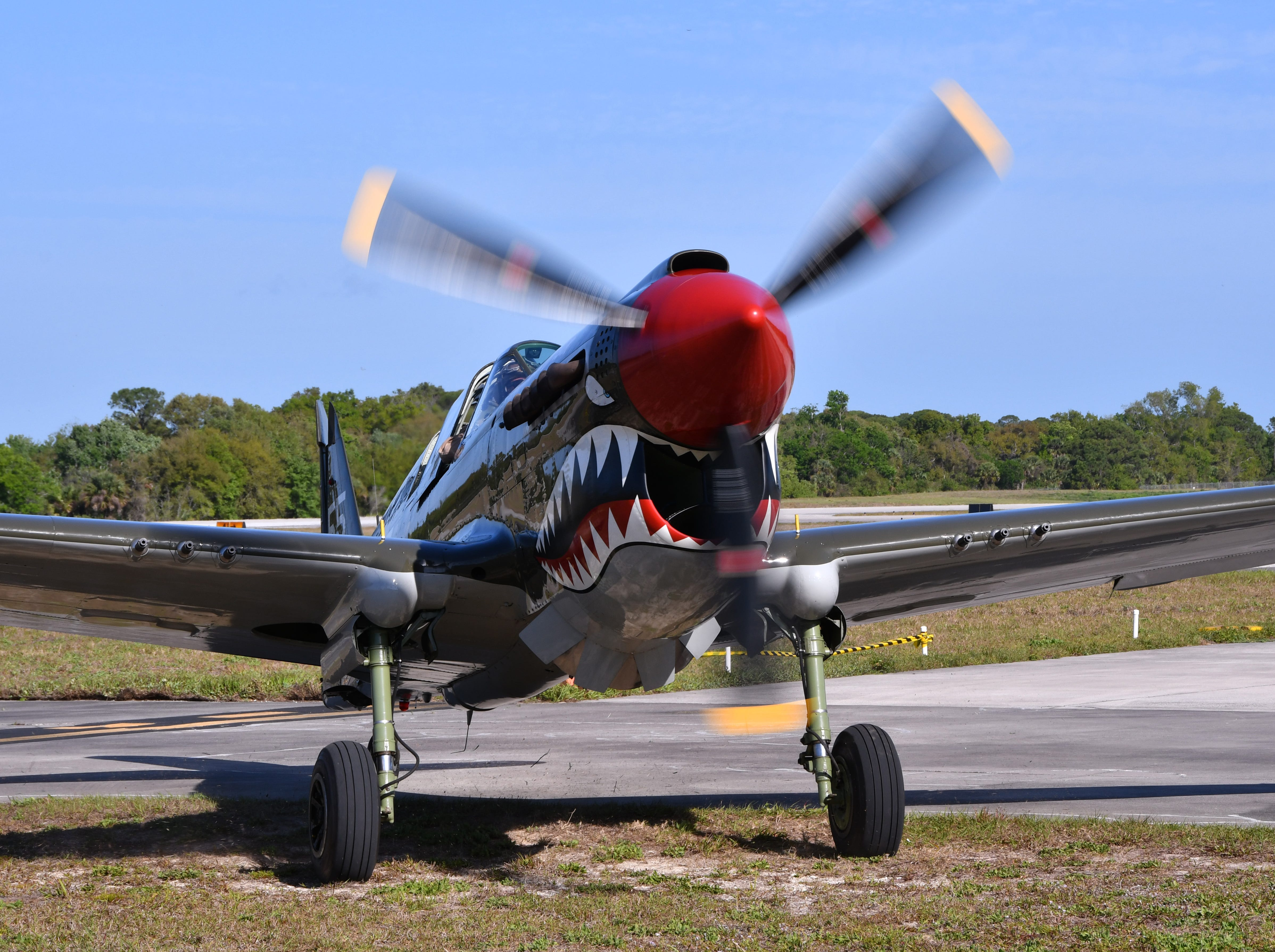 The P-40 American Dream, one of only five known to exist, with two confirmed kills, prepares for take off. The 2019 Space Coast Warbird Air Show held their media day Thursday, promoting the Air Show that runs Friday, Saturday and Sunday at Space Coast Regional Airport in Titusville, with a Friday afternoon and evening show with fireworks, and shows Saturday and Sunday afternoon.
