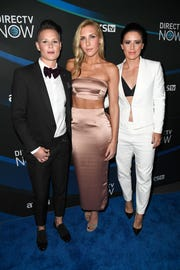 U.S. Women's Soccer players, from left, Ashlyn Harris, Allie Long and Ali Krieger attend the 2017 Super Saturday Night Concert in Houston, Texas. (Photo by Frazer Harrison/Getty Images for DIRECTV)