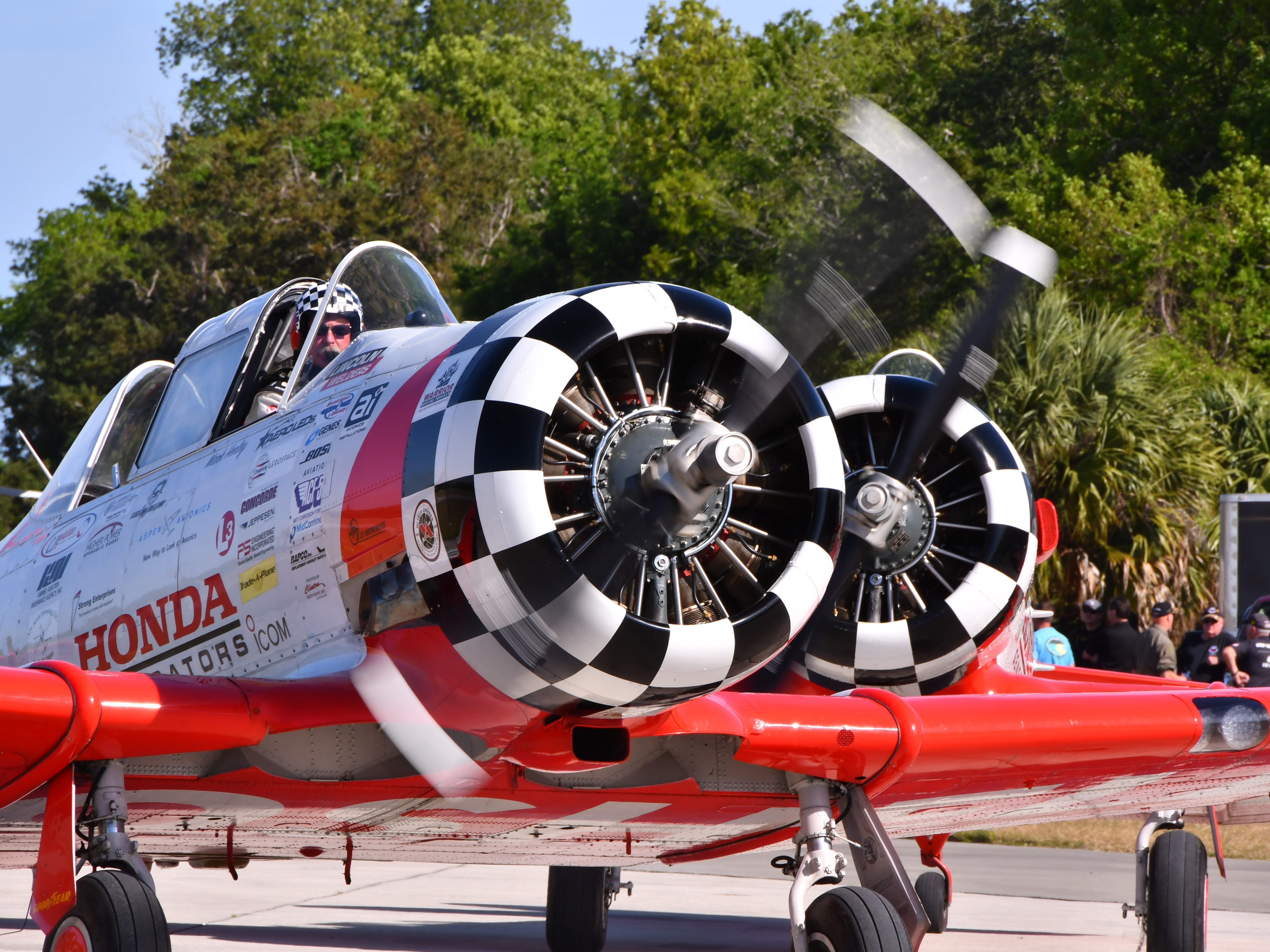 The Aeroshell Aerobatic team prepares for take off. The 2019 Space Coast Warbird Air Show held their media day Thursday, promoting the Air Show that runs Friday, Saturday and Sunday at Space Coast Regional Airport in Titusville, with a Friday afternoon and evening show with fireworks, and shows Saturday and Sunday afternoon.