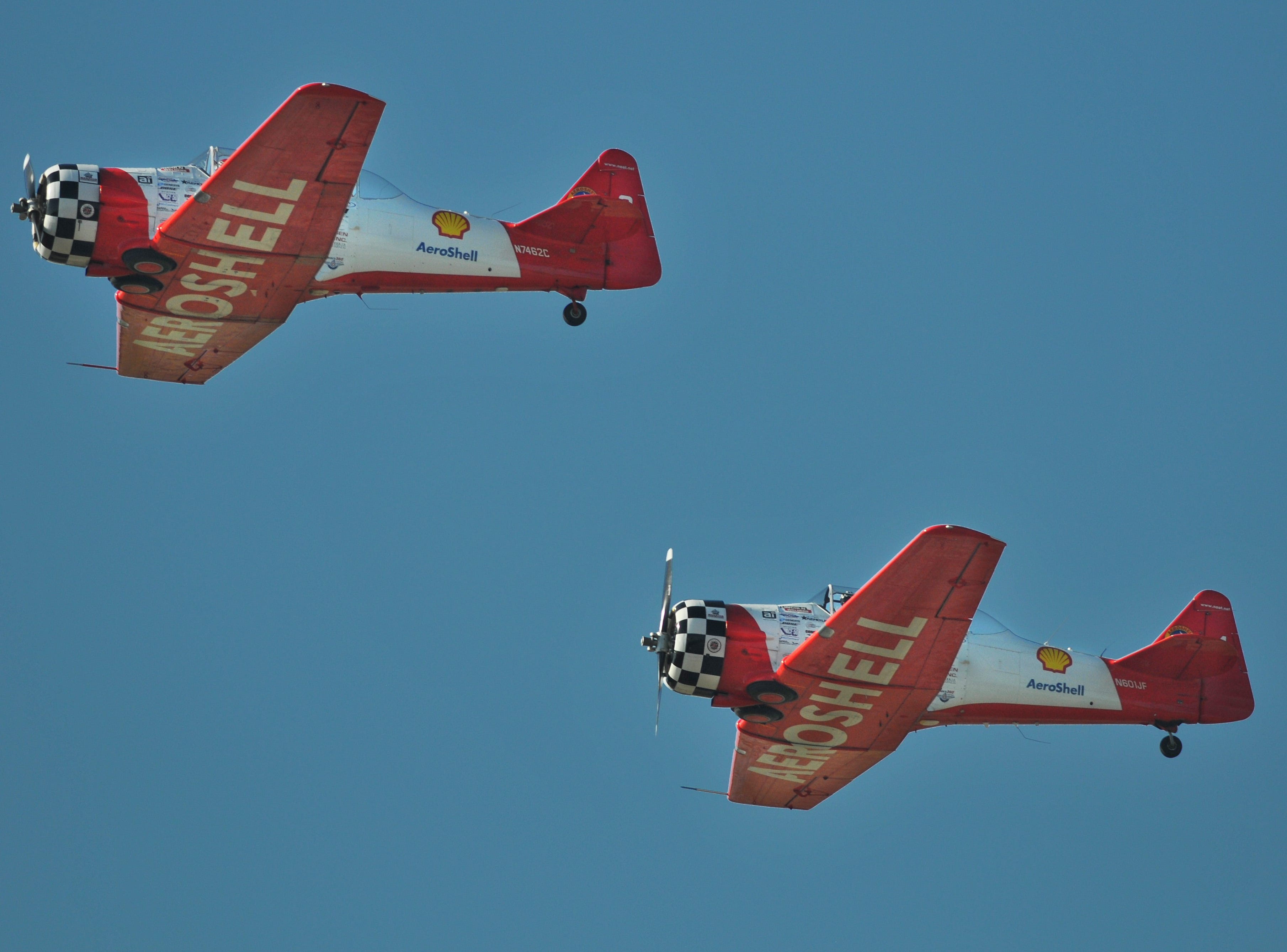 The Aeroshell Aerbatic team makes a pass over the runway. The 2019 Space Coast Warbird Air Show held their media day Thursday, promoting the Air Show that runs Friday, Saturday and Sunday at Space Coast Regional Airport in Titusville, with a Friday afternoon and evening show with fireworks, and shows Saturday and Sunday afternoon.