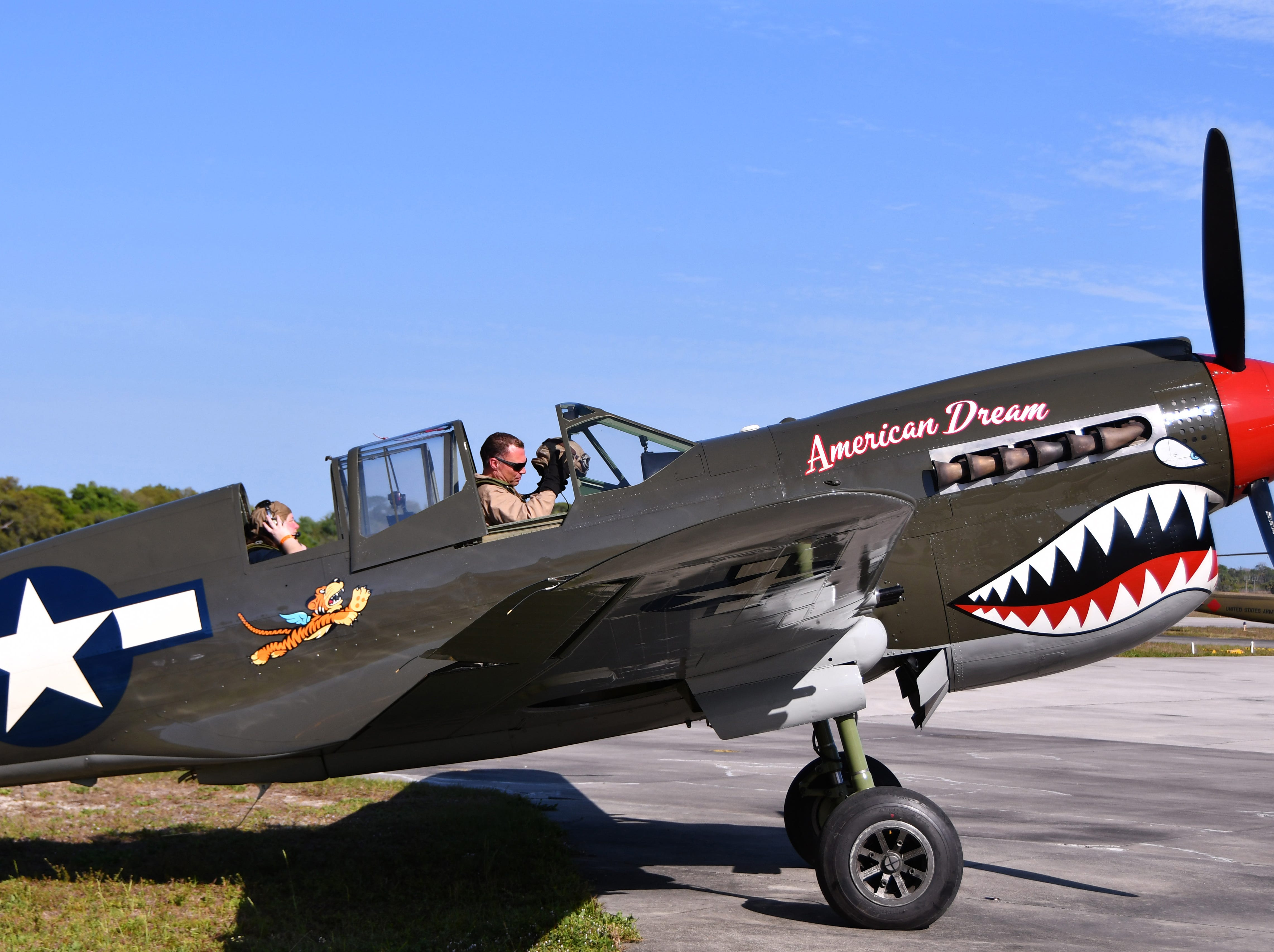 The P-40 American Dream, one of only five to exist, prepares for take off. The 2019 Space Coast Warbird Air Show held their media day Thursday, promoting the Air Show that runs Friday, Saturday and Sunday at Space Coast Regional Airport in Titusville, with a Friday afternoon and evening show with fireworks, and shows Saturday and Sunday afternoon.