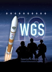 Official poster for the Air Force's 10th Wideband Global Satcom (WGS-10) satellite mission launching from Cape Canaveral on a United Launch Alliance Delta IV rocket.