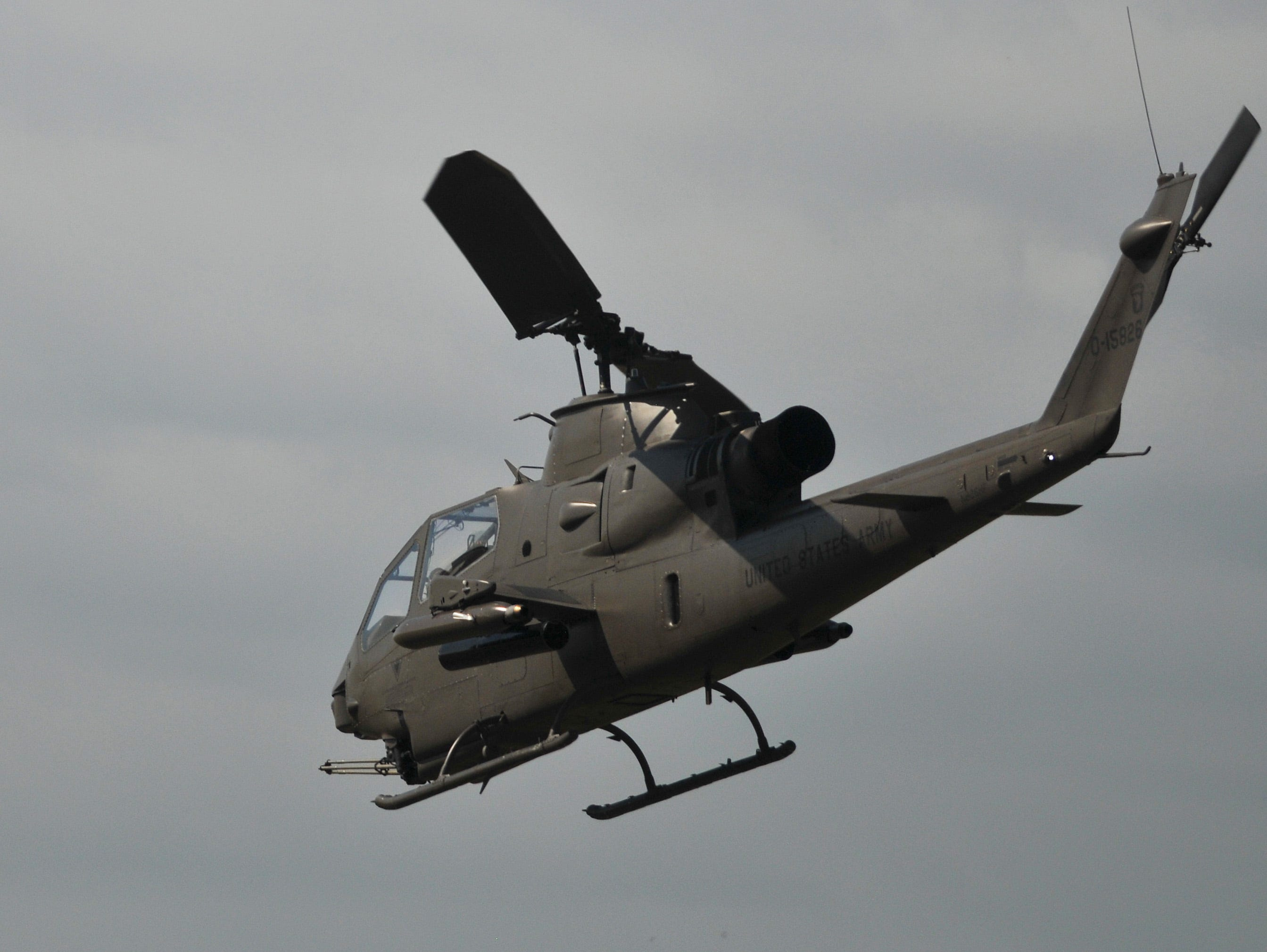 An AH-1 Cobra makes a pass over the airport. The 2019 Space Coast Warbird Air Show held their media day Thursday, promoting the Air Show that runs Friday, Saturday and Sunday at Space Coast Regional Airport in Titusville, with a Friday afternoon and evening show with fireworks, and shows Saturday and Sunday afternoon.