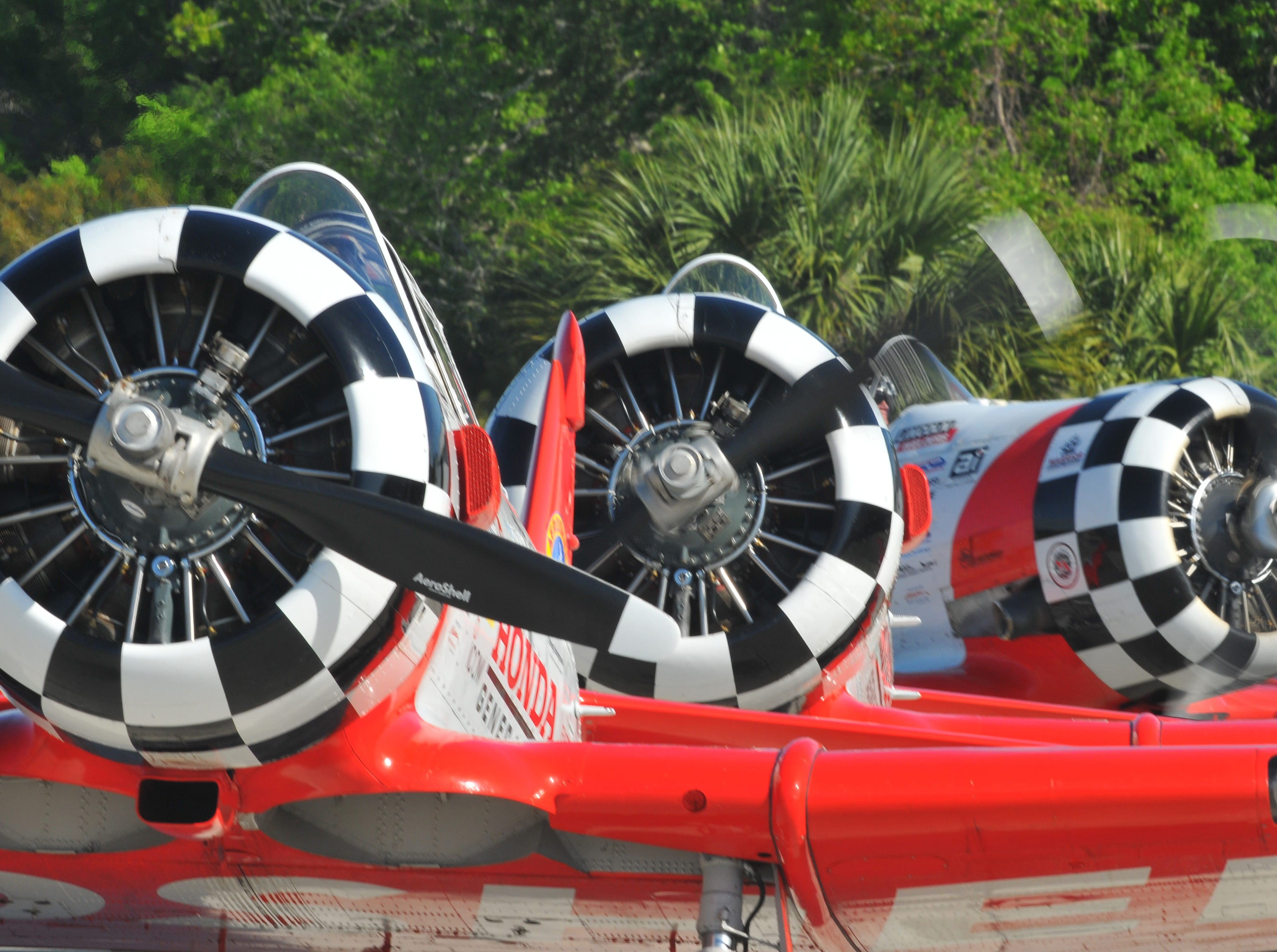 Three of the Aeroshell Aerobatic Team prepare for take off. The 2019 Space Coast Warbird Air Show held their media day Thursday, promoting the Air Show that runs Friday, Saturday and Sunday at Space Coast Regional Airport in Titusville, with a Friday afternoon and evening show with fireworks, and shows Saturday and Sunday afternoon.