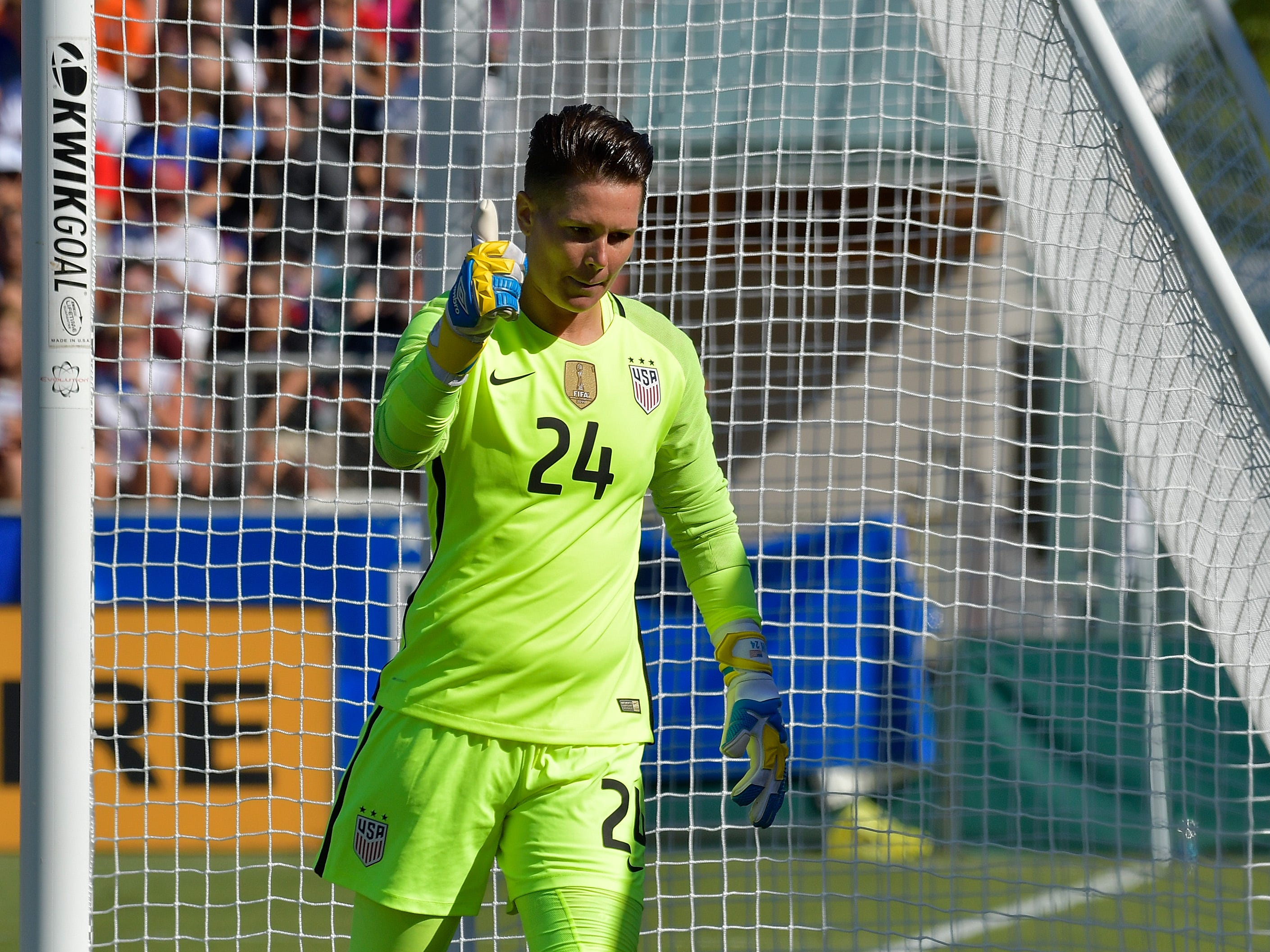 Ashlyn Harris of USA flashes a thumbs-up after making a save against Korea Republic during their game at WakeMed Soccer Park on October 22, 2017 in Cary, North Carolina.