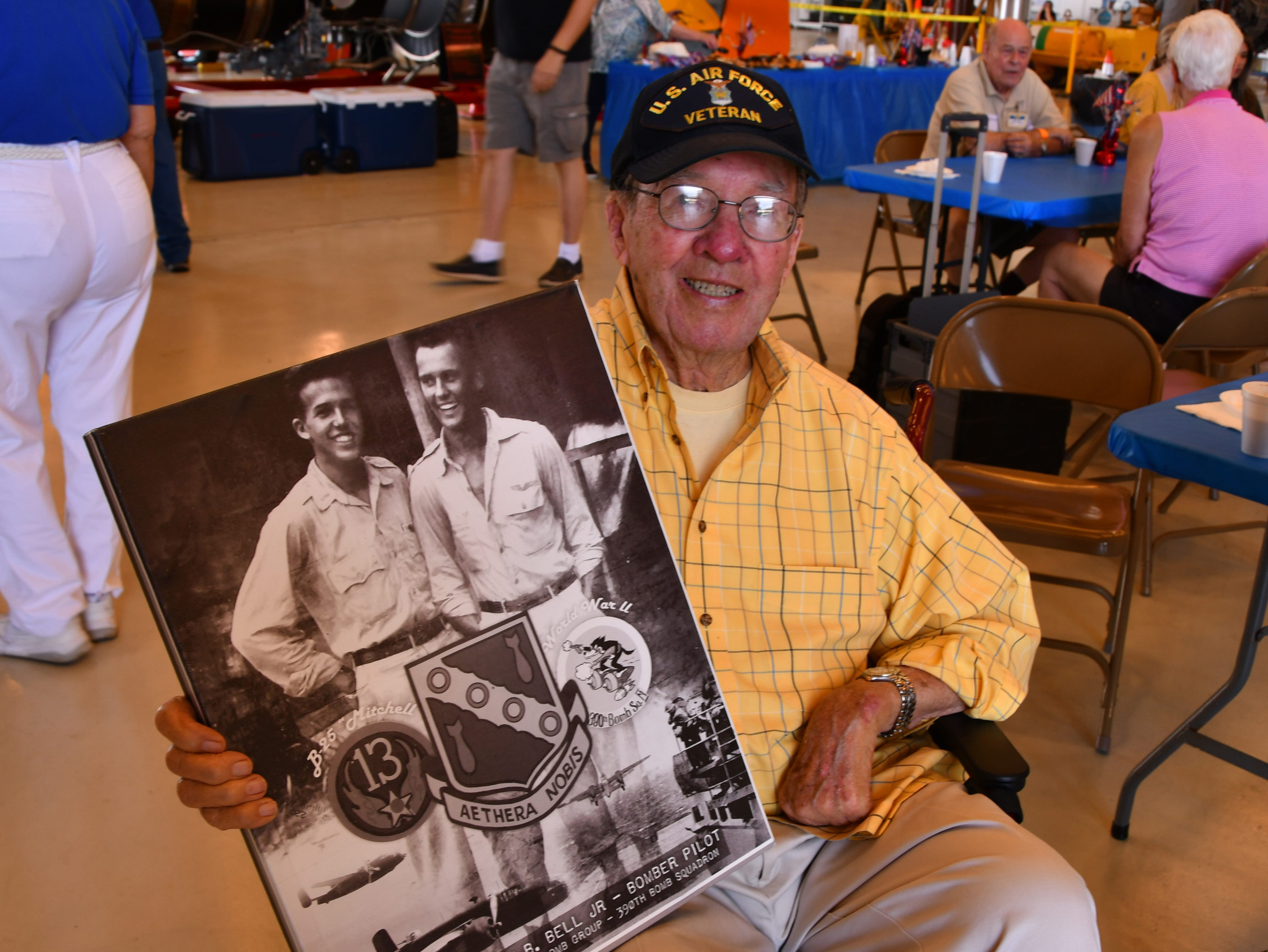 Alyn Bell, 94, who flew B-25 bombers in the Phillipines in WWII, brought a photo of him from younger days to media day. He is the young man in the left. The 2019 Space Coast Warbird Air Show held their media day Thursday, promoting the Air Show that runs Friday, Saturday and Sunday at Space Coast Regional Airport in Titusville, with a Friday afternoon and evening show with fireworks, and shows Saturday and Sunday afternoon.