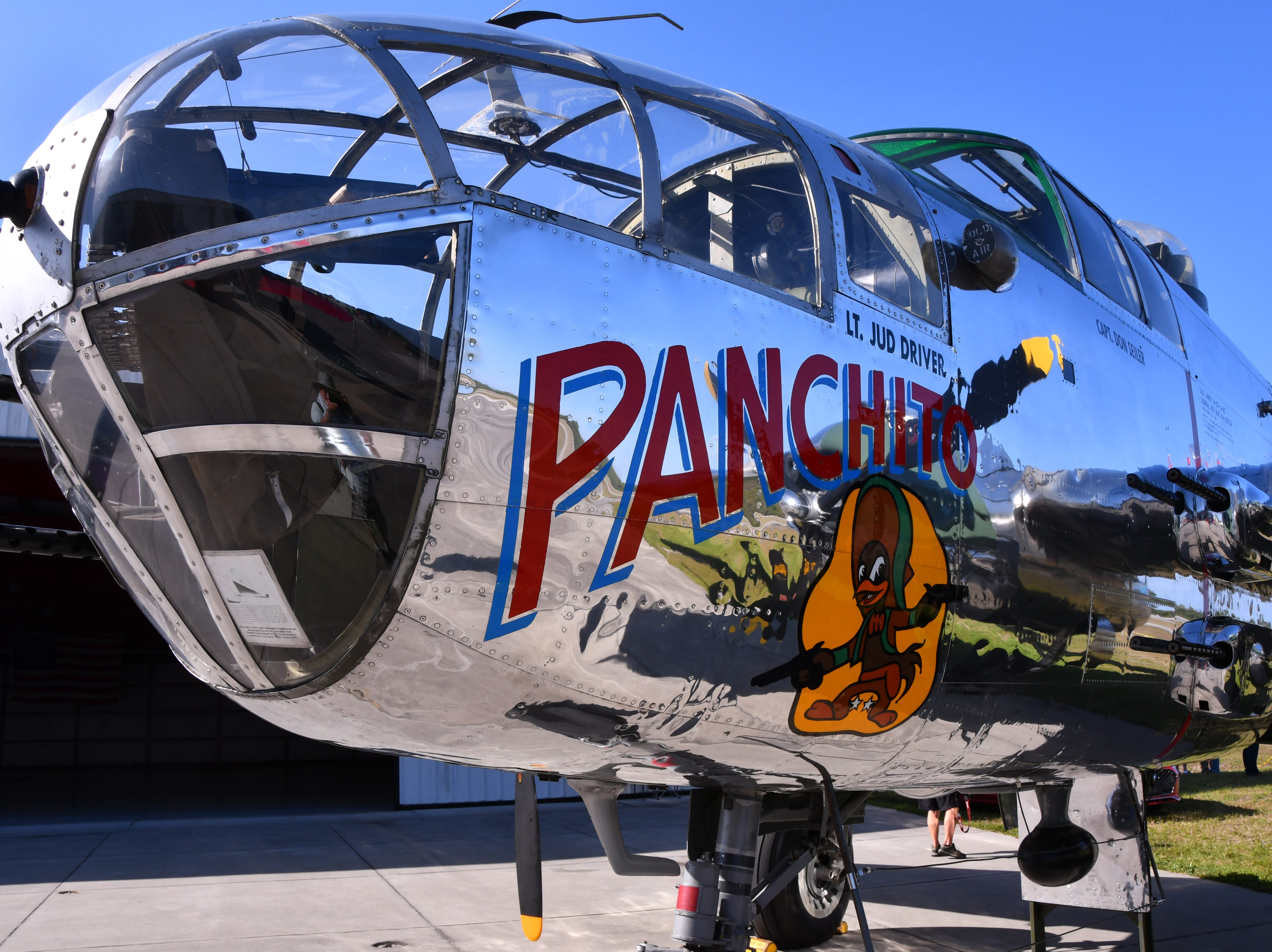 Pancbhito, a B-25 bomber on the tarmac at the Valiant Air Command Musuem. The 2019 Space Coast Warbird Air Show held their media day Thursday, promoting the Air Show that runs Friday, Saturday and Sunday at Space Coast Regional Airport in Titusville, with a Friday afternoon and evening show with fireworks, and shows Saturday and Sunday afternoon.