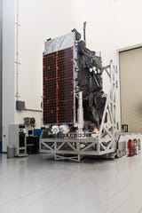 File photo of the Air Force's ninth Wideband Global Satcom (WGS-9) satellite, built by Boeing in its El Segundo, California-based Satellite Development Center.