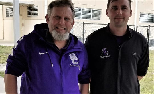 Current Space Coast basketball coach Michael Pommier (left) with his successor, Kenny Herbst.