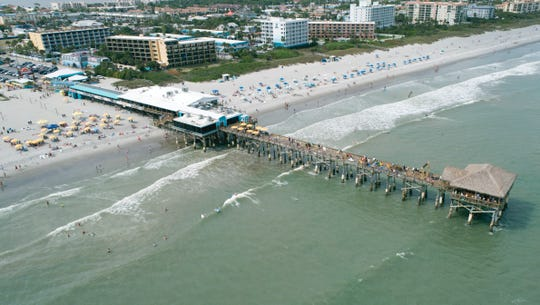 An aerial view of the Cocoa Beach Pier seen March 11, 2019.