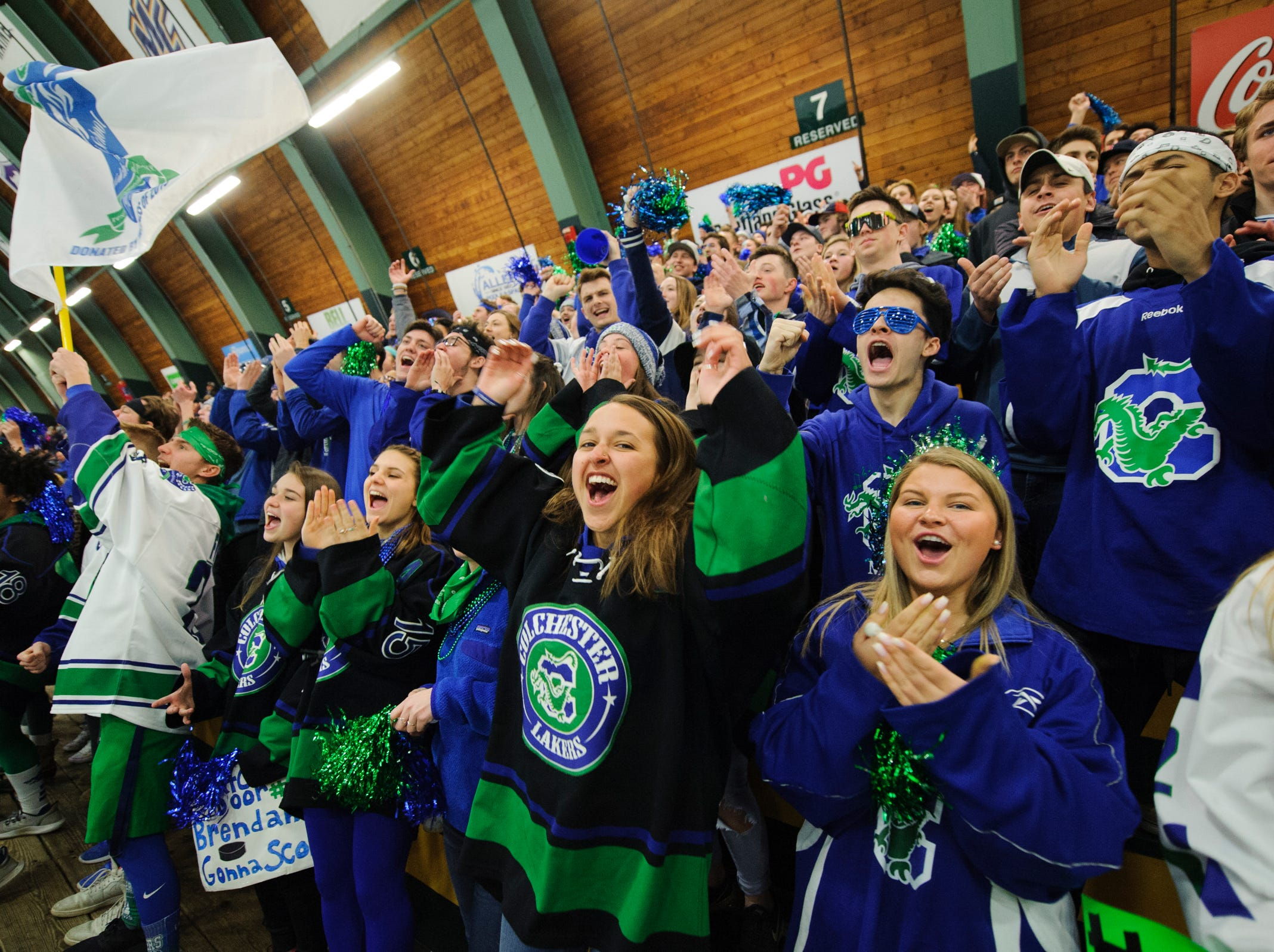 Colchester fans cheer for the team during the DII boys hockey championship game between the Woodstock Wasps and the Colchester Lakers at Gutterson Field House on Wednesday night March 13, 2019 in Burlington, Vermont.