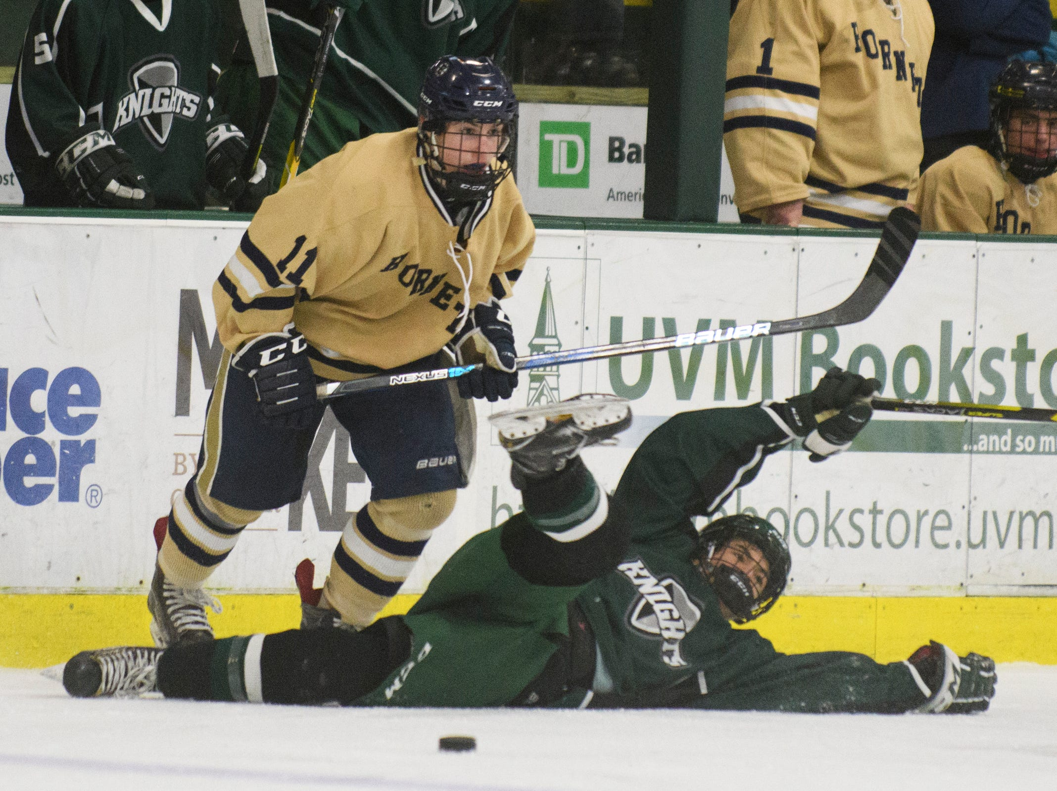 Rice's Garrett Micciche (10) falls down as he battles for the puck with Essex's Ryan Clark (11) during the DI boys hockey championship game between the Rice Green Knights and the Essex Hornets at Gutterson Field House on Wednesday night March 13, 2019 in Burlington, Vermont.