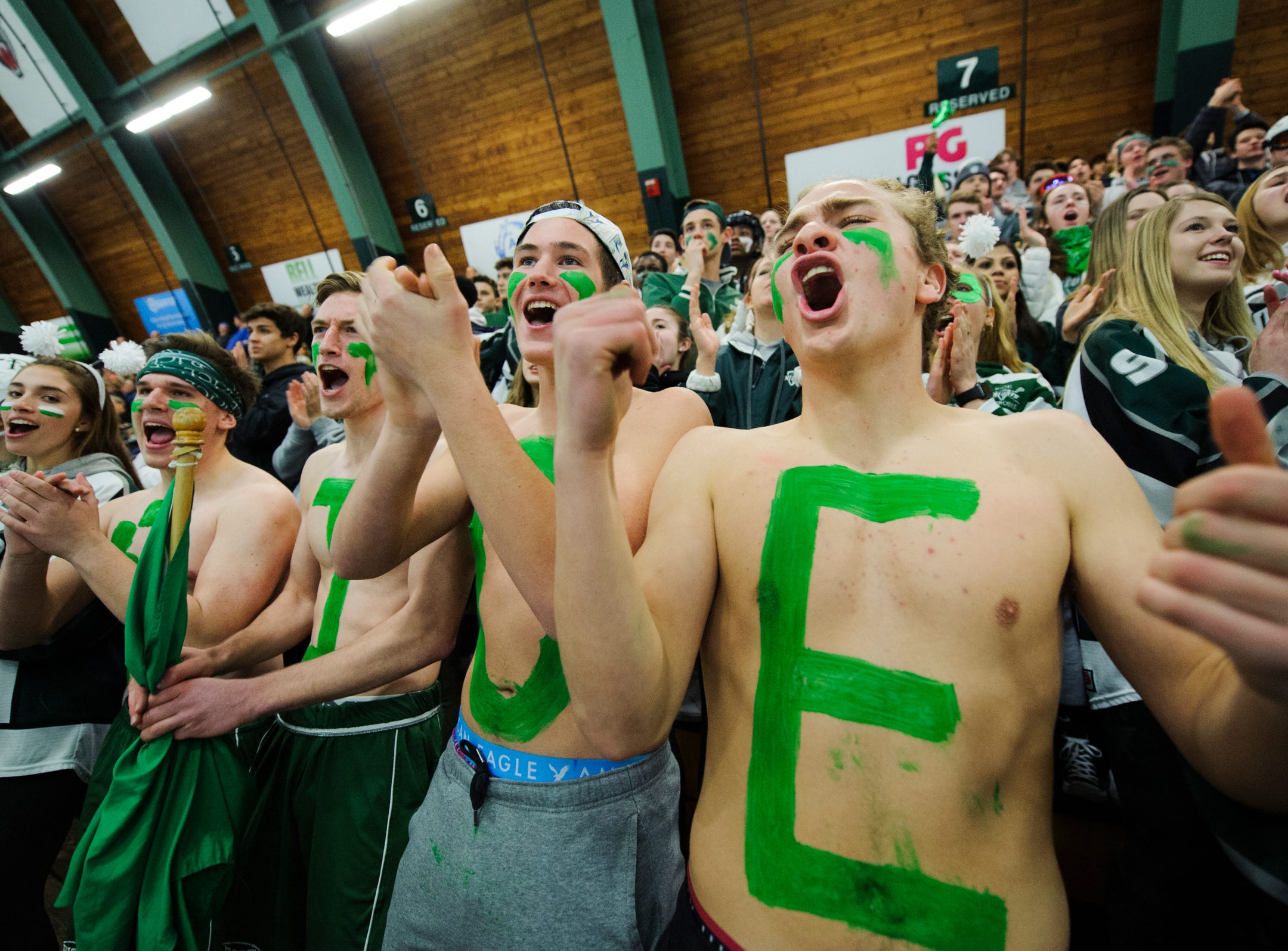 Rice fans cheer for the team during the DI boys hockey championship game between the Rice Green Knights and the Essex Hornets at Gutterson Field House on Wednesday night March 13, 2019 in Burlington, Vermont.