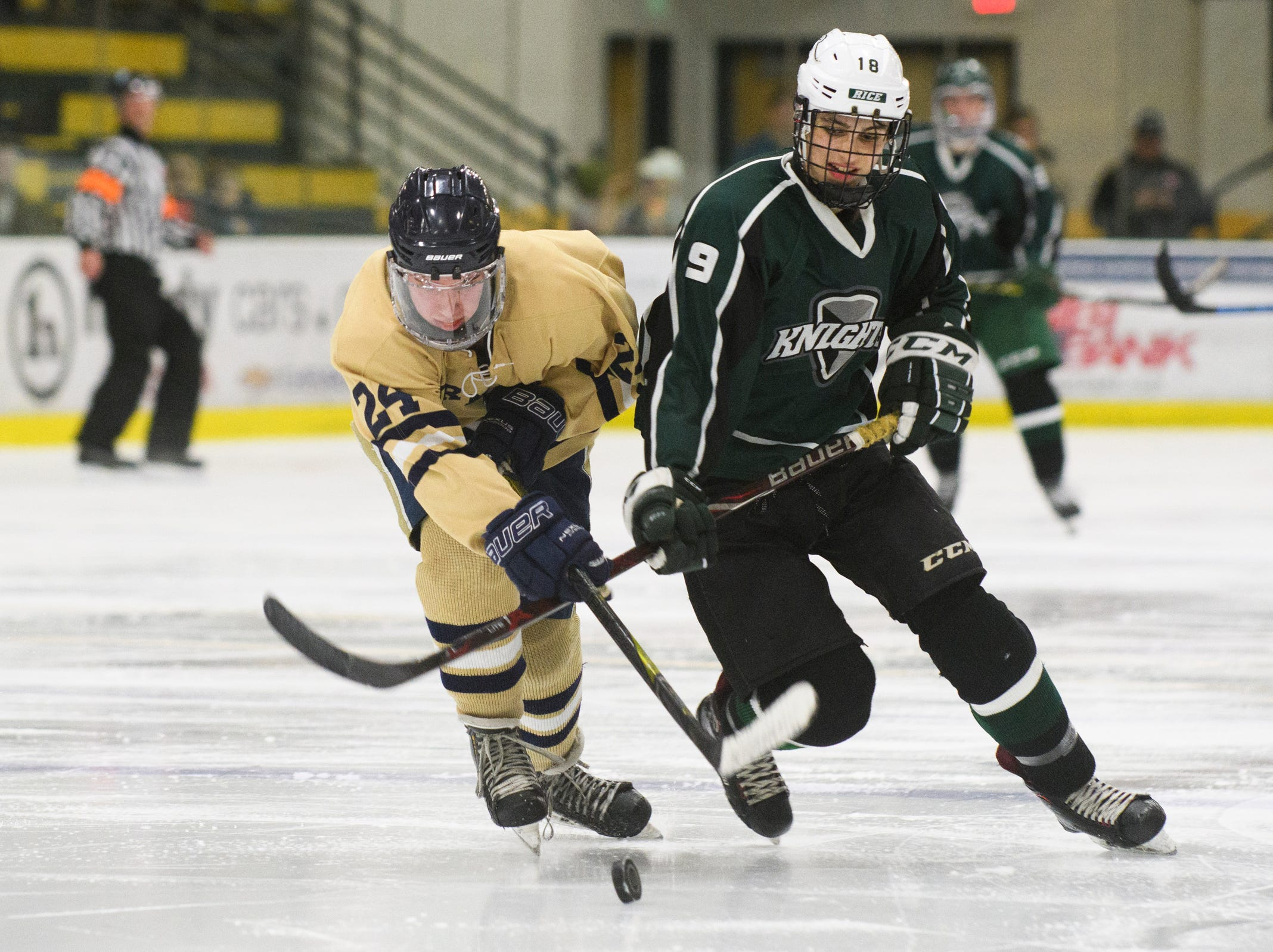 Rice's Alex Gamarra (9) battles for the puck with Essex's Ian Amaliksen (24) during the DI boys hockey championship game between the Rice Green Knights and the Essex Hornets at Gutterson Field House on Wednesday night March 13, 2019 in Burlington, Vermont.