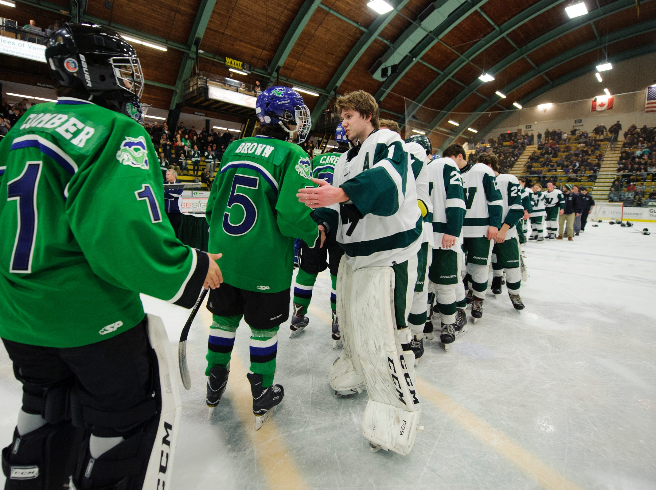 The teams shake hands during the DII boys hockey championship game between the Woodstock Wasps and the Colchester Lakers at Gutterson Field House on Wednesday night March 13, 2019 in Burlington, Vermont.
