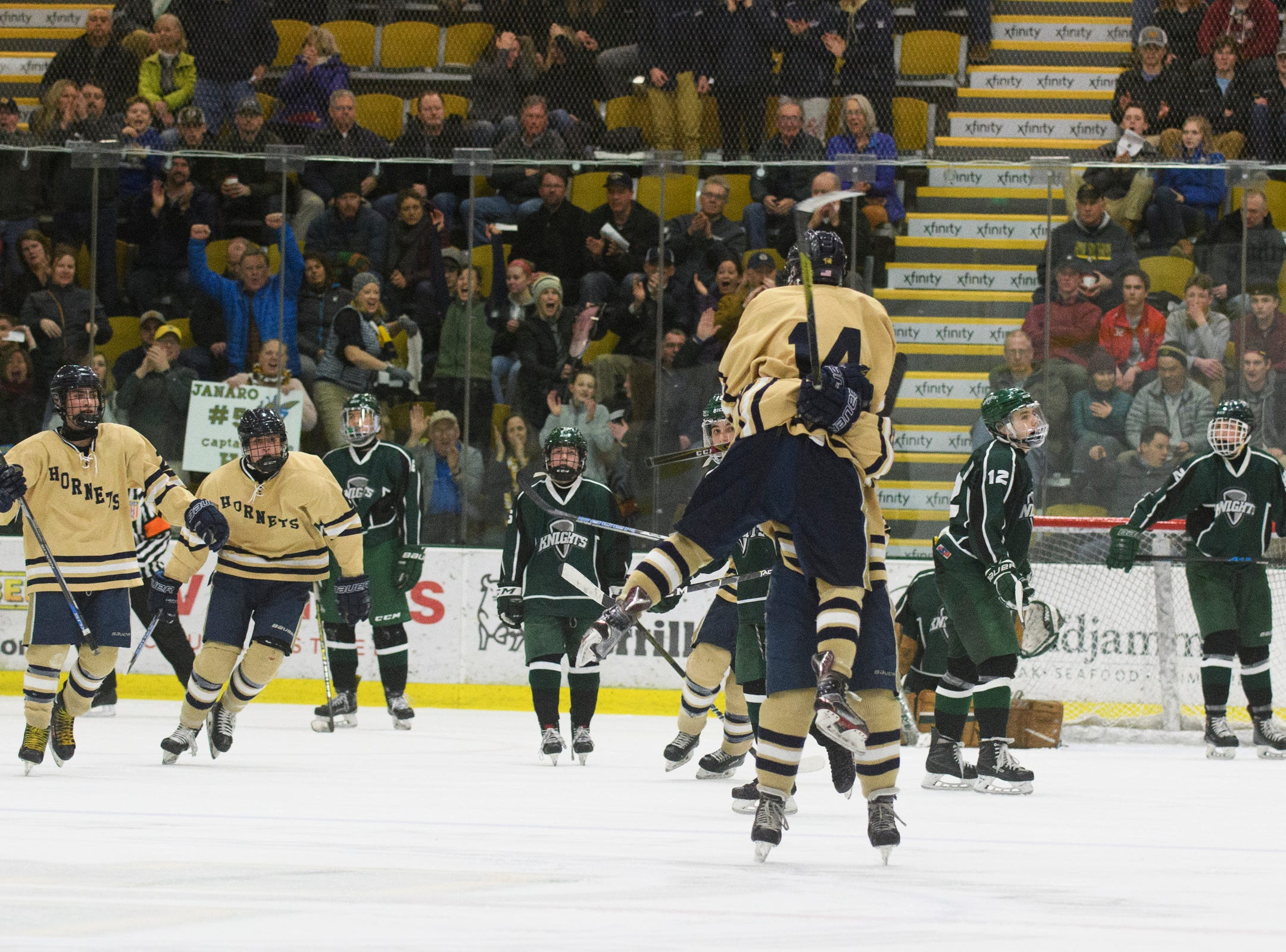 Essex celebrates a goal during the DI boys hockey championship game between the Rice Green Knights and the Essex Hornets at Gutterson Field House on Wednesday night March 13, 2019 in Burlington, Vermont.