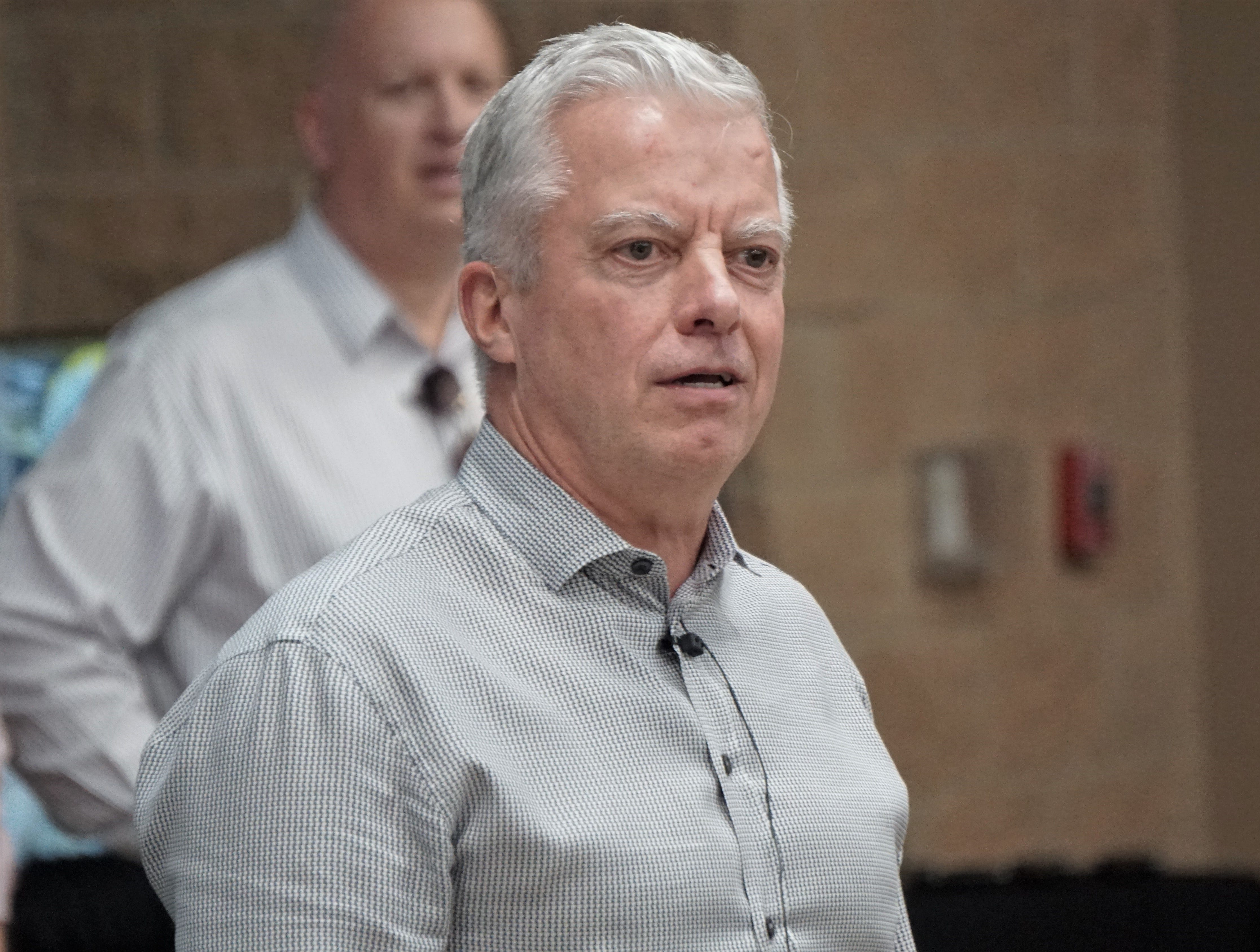 Mark Millett, president and CEO of Steel Dynamics, speaks during a meet and greet at the San Patricio County Civic Center in Sinton on March 13, 2019.