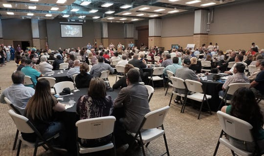 More than 200 people attended a meet and greet with representatives with Steel Dynamics at the San Patricio County Civic Center in Sinton on March 13, 2019.