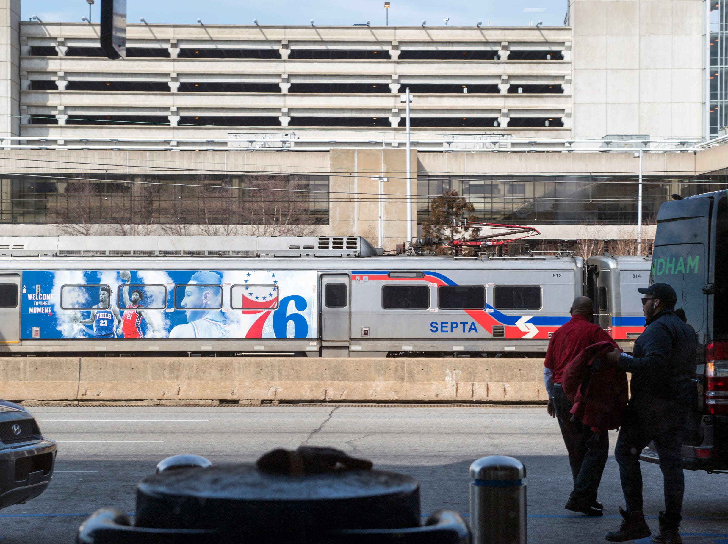 A SEPTA train rolls through Thursday, March 14, 2019 at Philadelphia International Airport in Philadelphia, Pa.