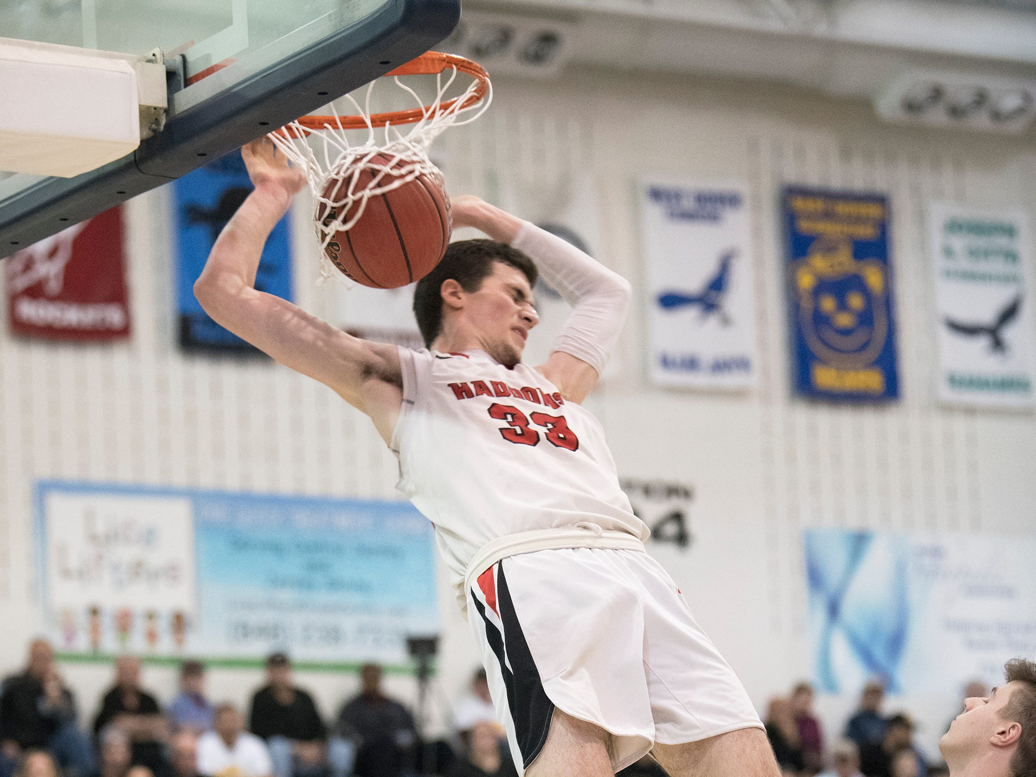 Haddonfield's Dan Fleming dunks the ball during the boys basketball Tournament of Champions quarterfinal game between Haddonfield and Moorestown, played at Toms River North High School on Wednesday, March 13, 2019.    Moorestown defeated Haddonfield, 60-59.