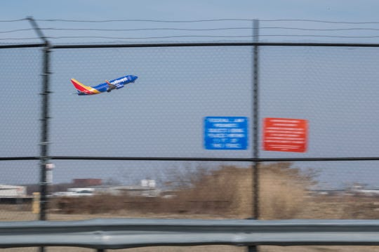 A Southwest Airlines plane takes off Thursday, March 14, 2019 at Philadelphia International Airport in Philadelphia, Pa.
