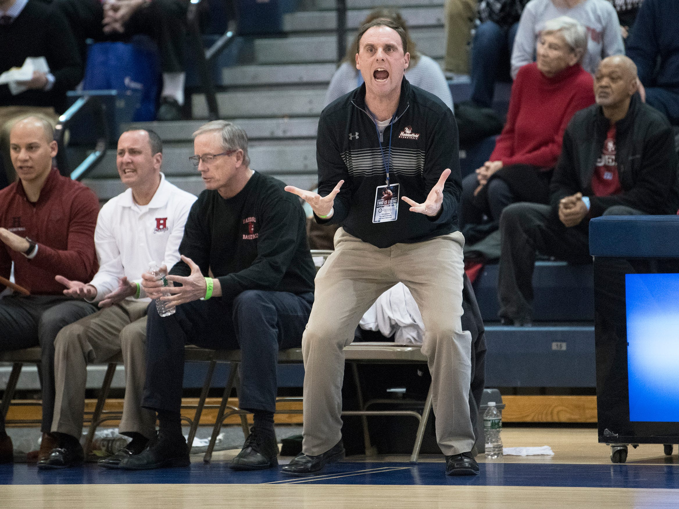 Haddonfield High School's boys basketball coach Paul Wiedeman reacts to a call against Haddonfield  during the boys basketball Tournament of Champions quarterfinal game between Haddonfield and Moorestown. played at Toms River North High School on Wednesday, March 13, 2019.   Moorestown defeated Haddonfield, 60-59.