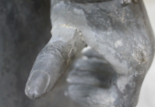 A photo taken prior to an exhibit at The Franklin Institute shows the thumb that was later taken from a statue at The Franklin Institute in Philadelphia.