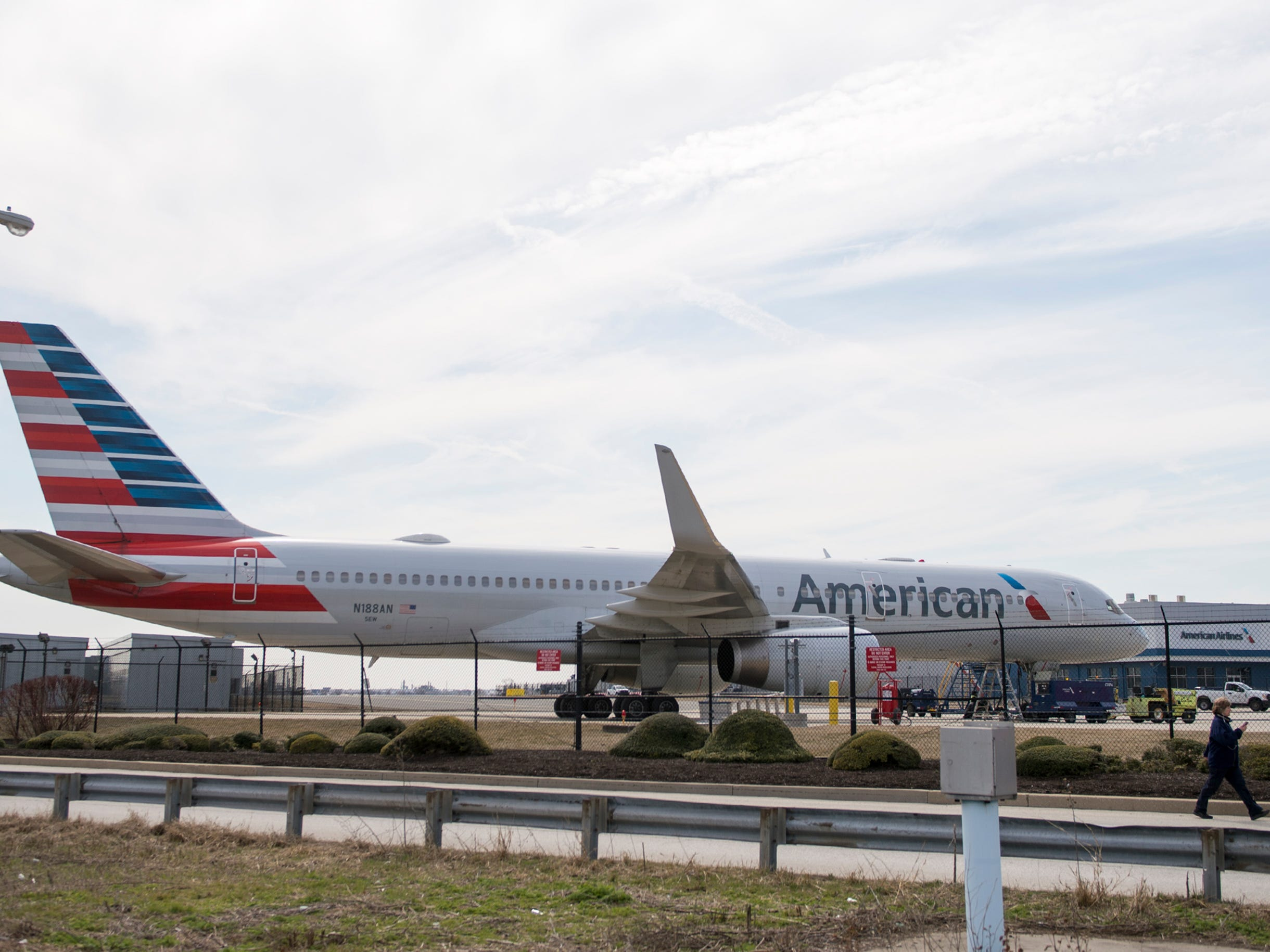 An American Airlines Boeing 757 is parked Thursday, March 14, 2019 at Philadelphia International Airport in Philadelphia, Pa.