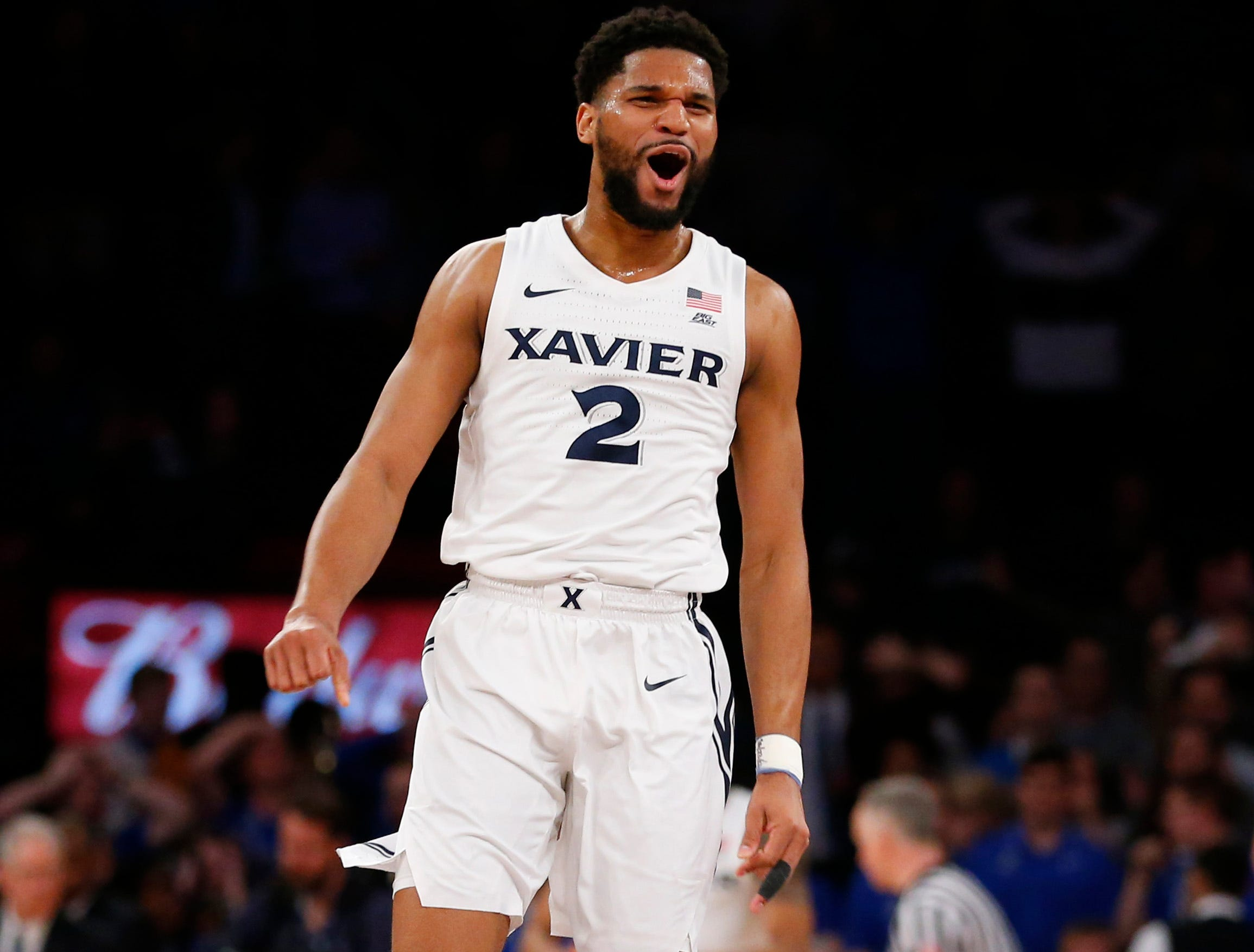 Kyle Castlin (2) celebrates after defeating the Creighton Bluejays in a quarterfinal game of the Big East conference tournament at Madison Square Garden.