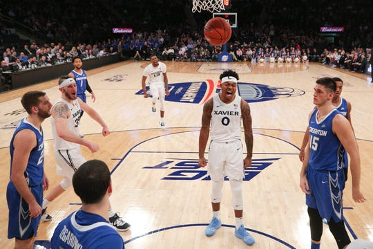 Xavier Musketeers forward Tyrique Jones (0) reacts during the second half of a quarterfinal game of the Big East conference tournament against the Creighton Bluejays at Madison Square Garden.