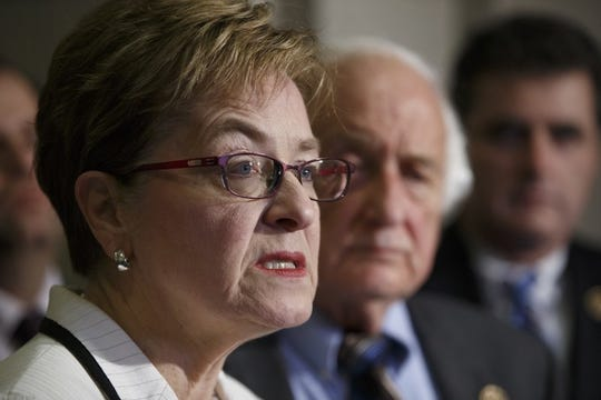 In this Thursday, Feb. 5, 2015 file photo, members of Congress, Rep. Marcy Kaptur, D-Ohio, and Rep. Sander Levin, D-Mich., join a Ukrainian delegation to voice bipartisan support for bolstering the Ukrainian forces during a news conference on Capitol Hill in Washington. Kaptur of Toledo, Ohio, testified Wednesday, March 13, 2019 in the final day of testimony about a federal lawsuit challenging Ohio's congressional map as unconstitutional.
