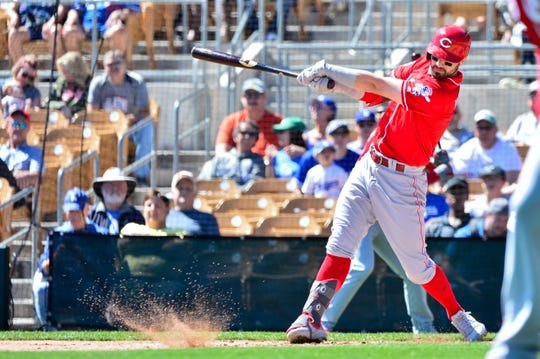 Cincinnati Reds right fielder Jesse Winker (33) grounds out in the first inning against the Los Angeles Dodgers at Camelback Ranch.